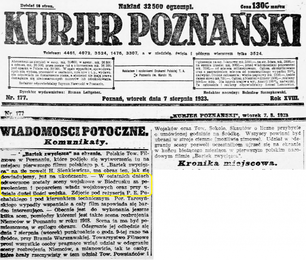 1 Kurjer Poznański R.18, nr 177 (7 sierpnia 1923) strona 5