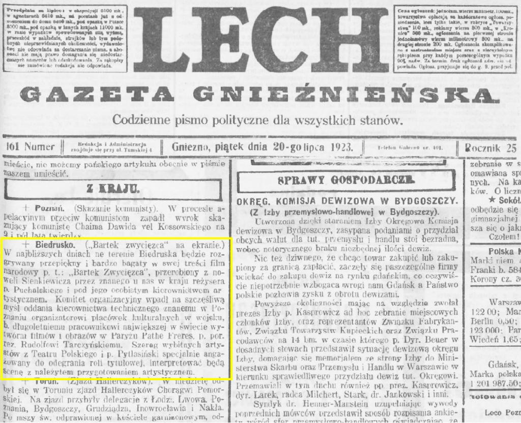 2 Lech. Gazeta Gnieźnieńska_ 1923.07.20 R.25 Nr161 str3