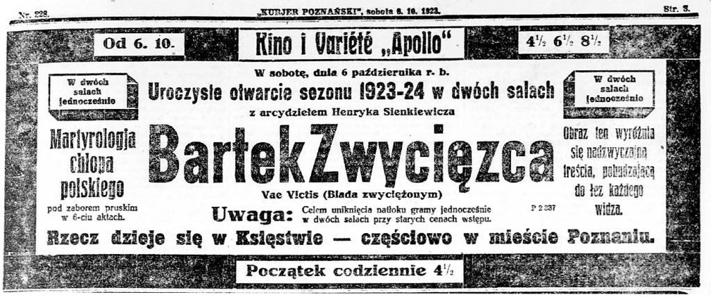 9 Kurjer Poznański R.18, nr 228 (6 października 1923)) stron3 premiera w Poznaniu