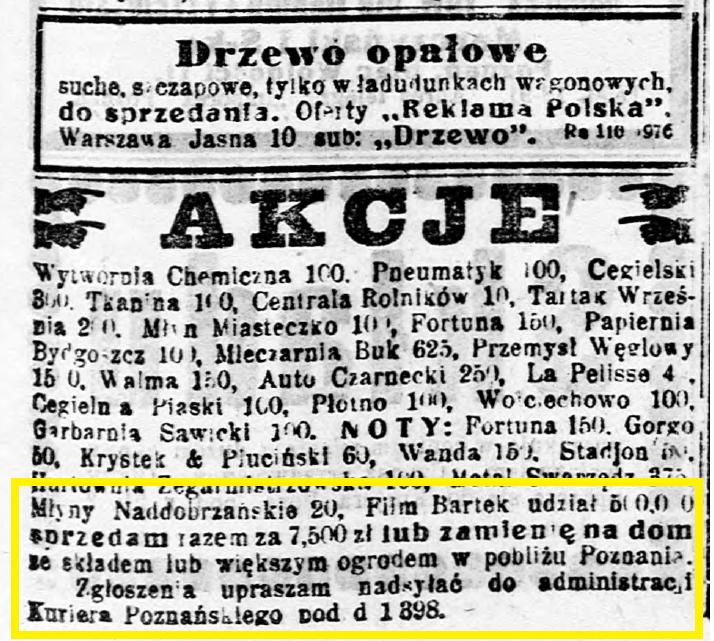 Kurjer Poznański R.19, nr 197 (27 17 sierpnia 1924) s11 sprzedaz akcji film