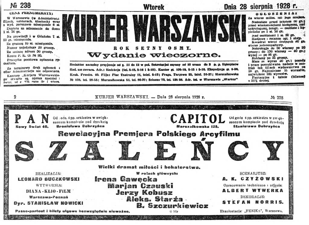 01 Kurjer Warszawski. R.108, nr 238 s2 Szalency premiera