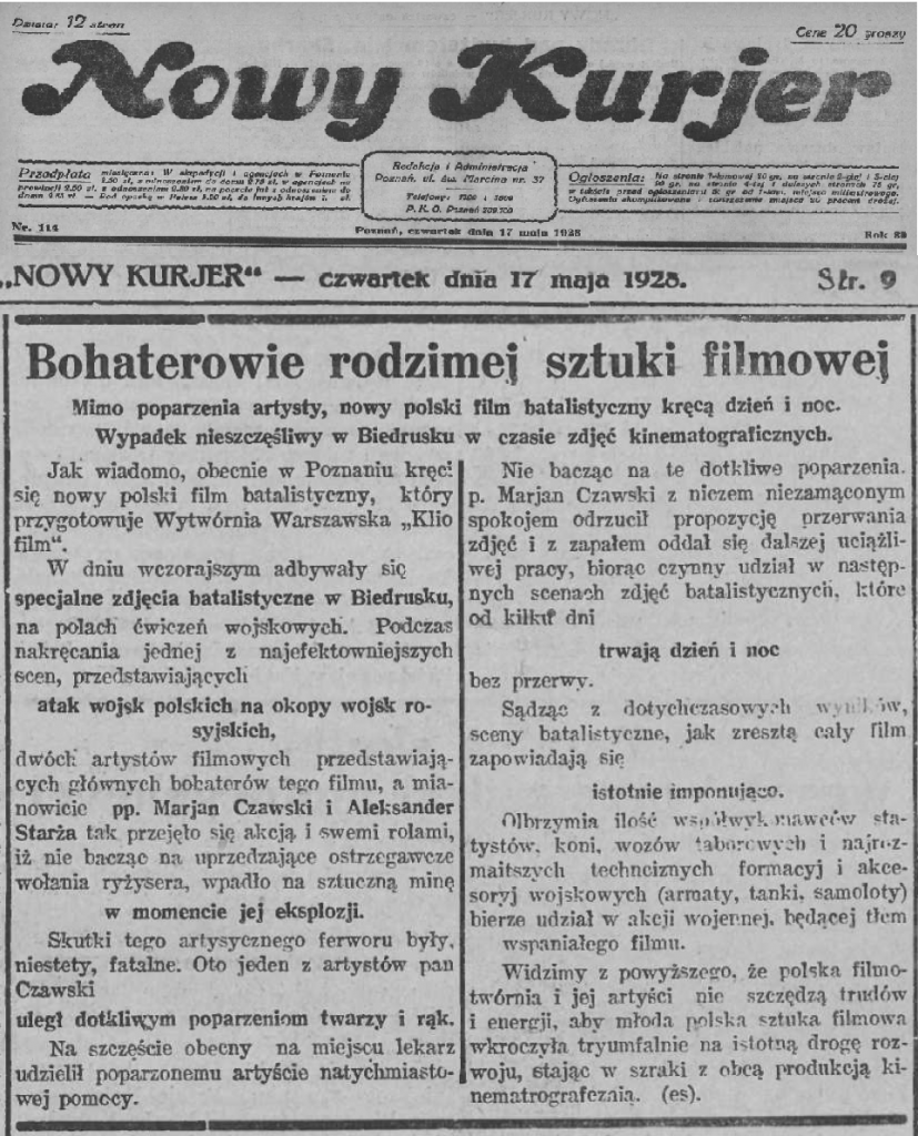 01 Nowy Kurjer 1928.05.17 R.39 Nr114 s9 krecą film i wypadek