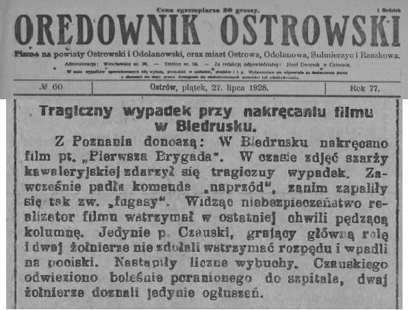 02 Orędownik Ostrowski_ 1928.07.27 R.77 Nr60 s2 wypadek