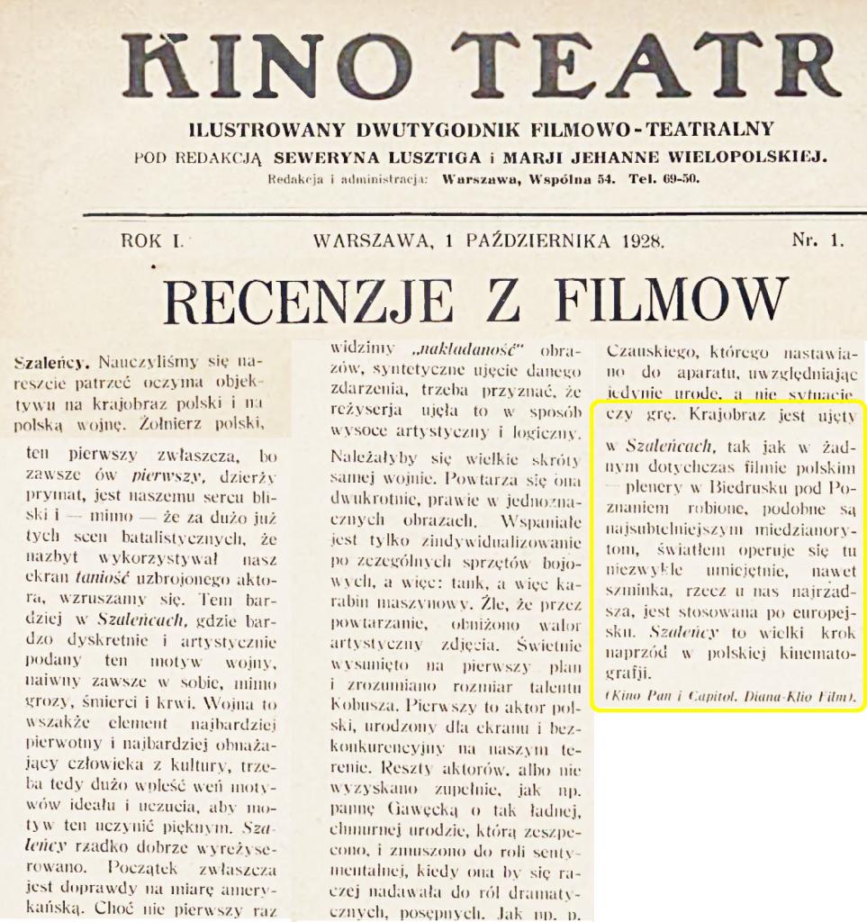 06 Kino Teatr_ ilustrowany dwutygodnik filmowo-teatralny 1928.10.01 R.1 Nr1