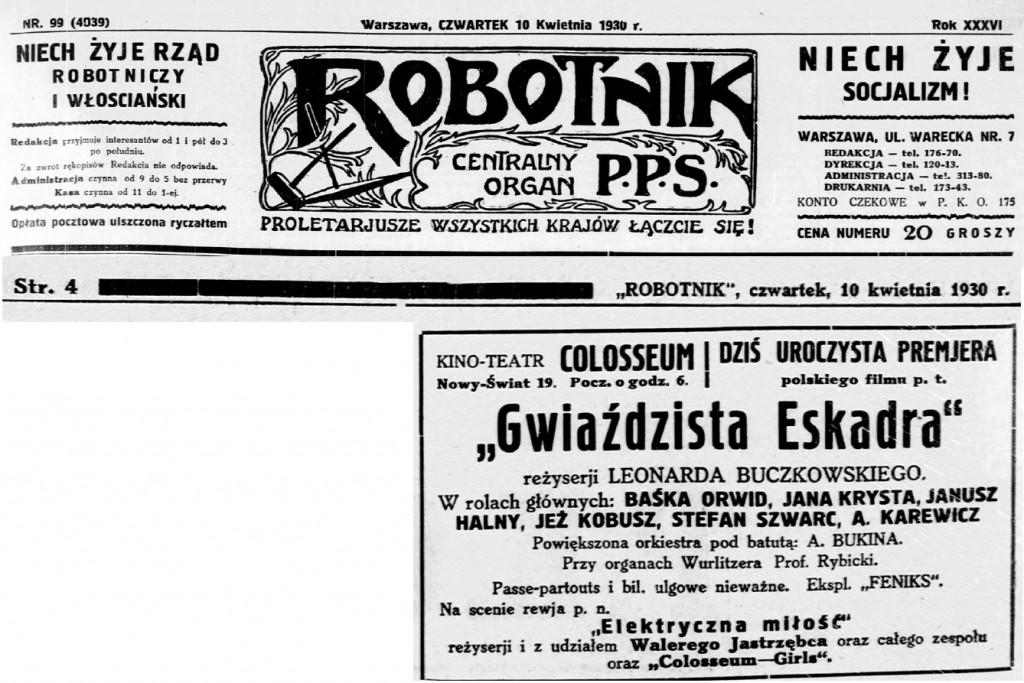 04 Robotnik _ organ Polskiej Partyi Socyalistycznej. R.36, nr 99 10 kwietnia 1930