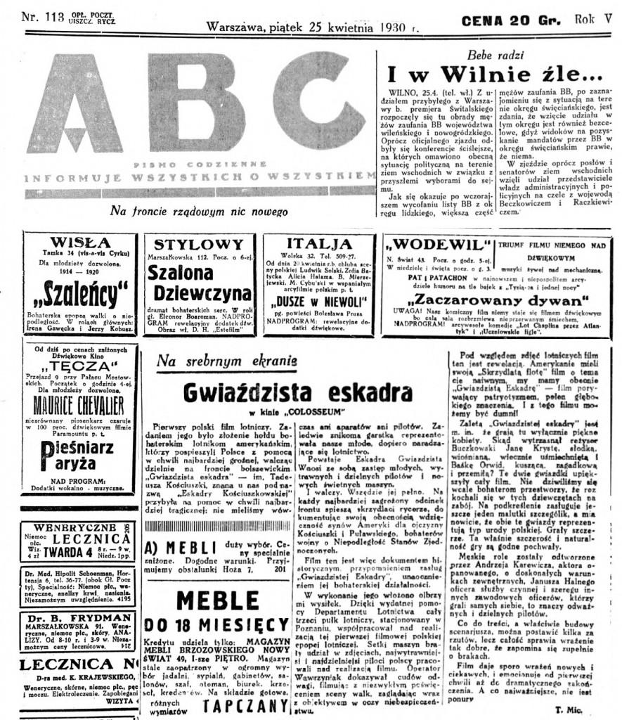 07 ABC nowiny codzienne. R.5, nr 113 (25 kwietnia 1930)