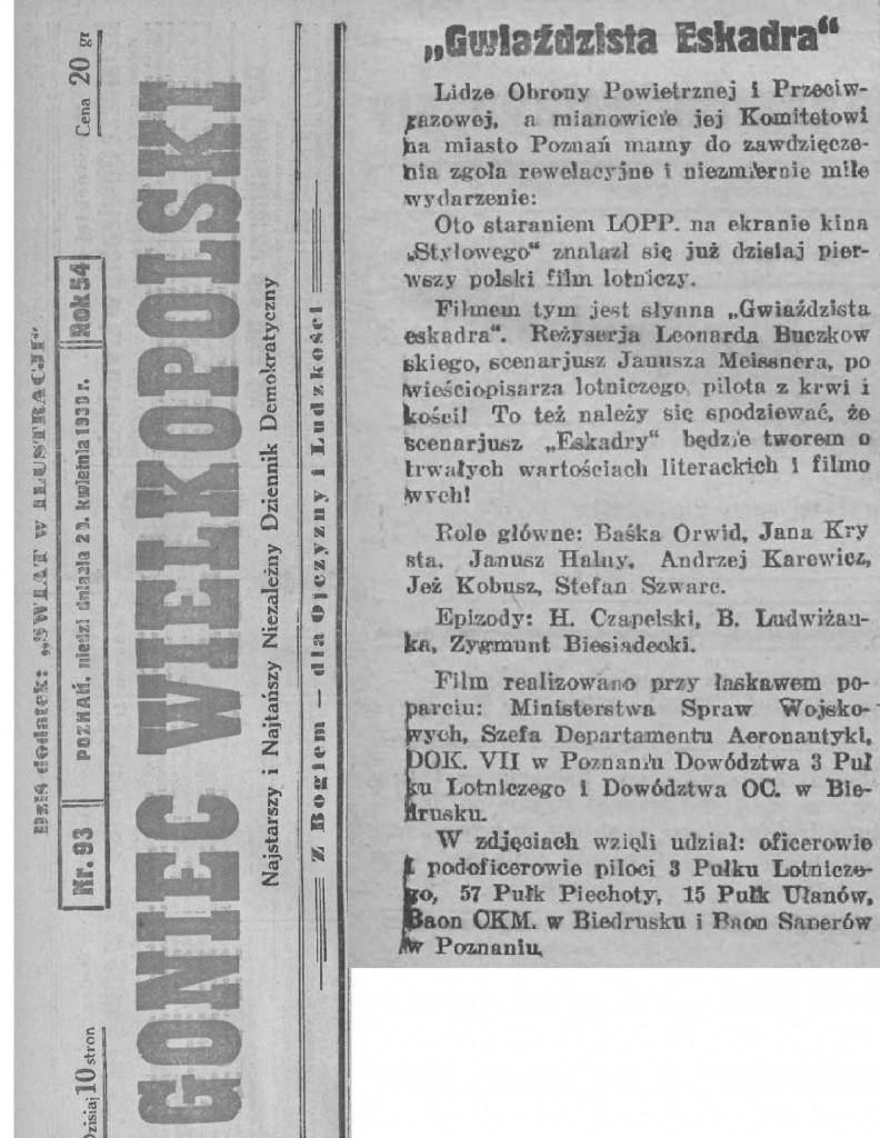 11 Goniec Wielkopolski_ 1930.04.20 R.54 Nr93 s3 Poznan pierwszy pokaz